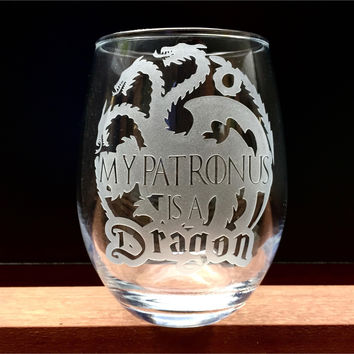 Elegant Wine Glass with Game of Thrones Harry Potter Design, My Patronus is a Dragon