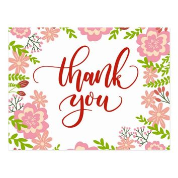 Pink Thank You Postcard