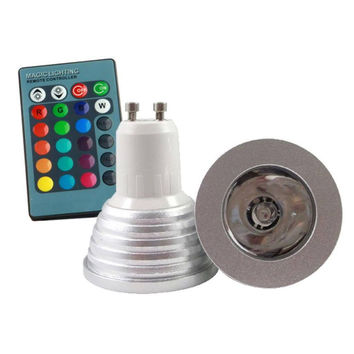 GU10 3W RGB Spotlight LED Light Bulb Lamp AC85V~265V + IR Remote Control 16 Color Changing free shipping