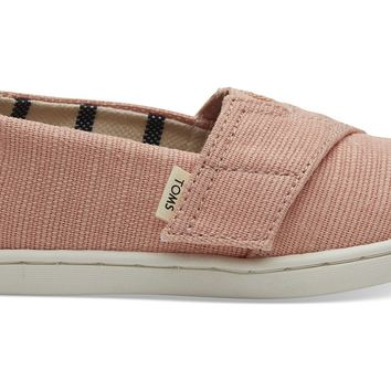 TOMS - Tiny Classics Coral Pink Heritage Canvas Slip-Ons
