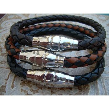 Mens Leather Bracelet with Grenade Stainless Steel Magnetic Clasp , Mens Jewelry, Mens Bracelet, Leather Bracelet
