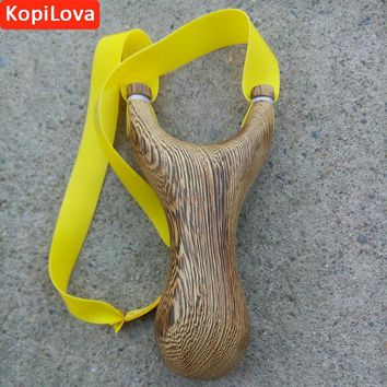 KopiLova Self Defense Sling Shot With Rubber Band Wooden Handle Bow Catapult for Hunting Camping Free Shipping