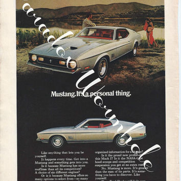 Vintage 1971 Ford Mustang Muscle Car Print Ad Advertising Man Cave Wall Art Decor