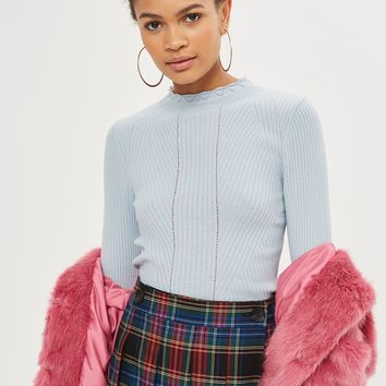 Blue Frill Neck Sweater - Sweaters & Knits - Clothing
