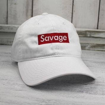 Savage Hat Lit Embroidered Baseball Cap Curved Bill 100% Cotton chance the rapper