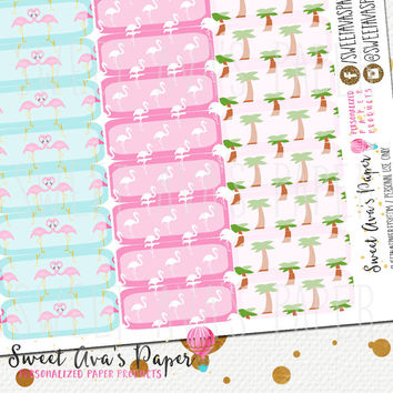78 Flamingo Planner Tabs / Fits Erin Condren Life Planner / The Happy Planner / Calendar Stickers