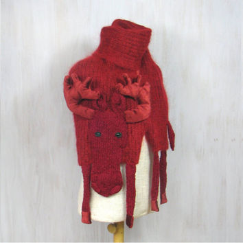 Woolen moose, soft long shawl, animal scarf, original wrap, winter accessory warm wool claret dark red, unique Christmas gift, elk, reindeer