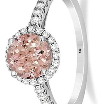 CERTIFIED 1.60ct 14K White Gold Ladies Halo Morganite and Diamond Engagement Ring