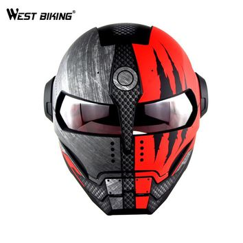 WEST BIKING Personalized Bicycle Full Face Helmet Motocross Motorcycle Helmet Vintage Riding Detachable casque Cycling Helmet