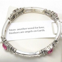Inspirational 'Mothers Meaning' Message Engraved Stretch Bracelet