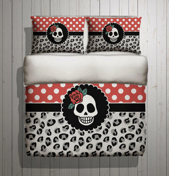 Rockabilly Bedding   with Beatiful Polka Dot and Leopard Design   Rockabilly  SUGAR SKULL Bed Linens. Fleece Rockabilly Bedding   with Cherries from InkandRags on Etsy