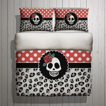 Rockabilly Bedding - with Beatiful Polka Dot and Leopard Design - Rockabilly SUGAR SKULL Bed Linens, Bedding Set
