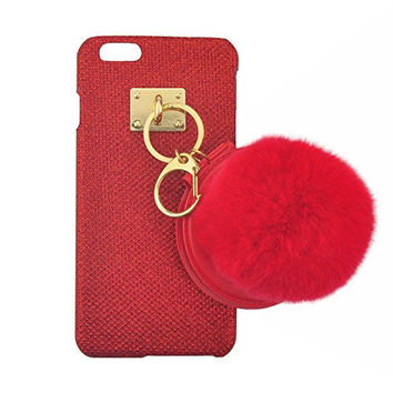 "S&C Cute Luxury String of Beauty Mirror Fur Ball Chain Bling Glitter Hard Back Case Cover Phone Case for iPhone 6 6S (4.7"") Red"