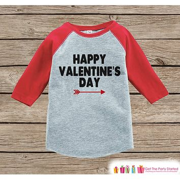 Kids Valentines Outfit - Happy Valentine's Day Shirt or Onepiece - Boy or Girl Valentine Shirt - Kids, Baby, Toddler, Youth - Red Raglan