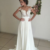 Illusion Bodice Summer Beach Wedding Dress with Slit Boho Bridal Dress