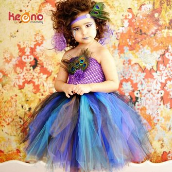 Keenomommy Princess Girls Peacock Feather Tutu Dress Photo Prop Halloween Costume Baby Kids Birthday Party Dress TS131
