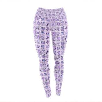 "Marianna Tankelevich ""Cute Birds Purple"" Pink Lavender Yoga Leggings"