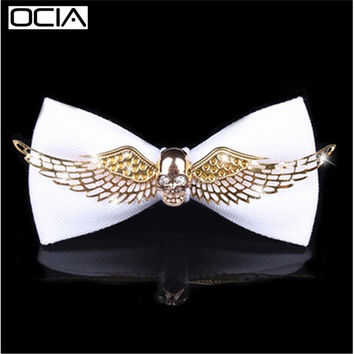 New Arrival Skull Personalized Men Metal Bow Tie
