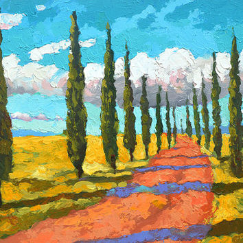 Cypresses in Tuscany - contemporary wall art oil palette knife on canvas painting by Dmitry Spiros