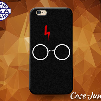 Red Lightening Scar And Glasses Harry Potter Inspired Custom Case For iPhone 4 and 4s and iPhone 5 and 5s and 5c and iPhone 6 and 6 Plus +