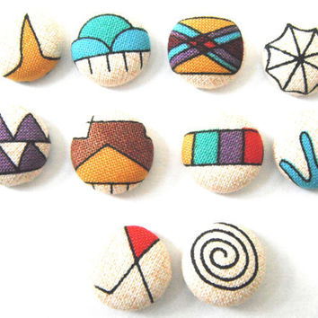 Navajo Fabric Thumbtacks/Push Pins Set of 10 by PurplePoui on Etsy