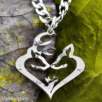 Deer Jewelry, Buck and Doe and Son Heart Family, Coin Necklace