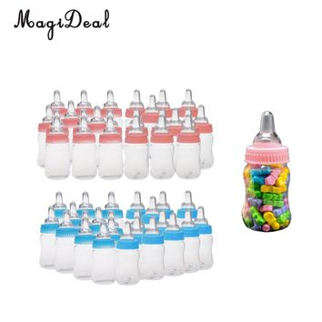 MagiDeal 24pcs/Lot Milk Bottles Candy Bottles Baptism Christening Baby Shower Party Favors Gifts Pink/Blue