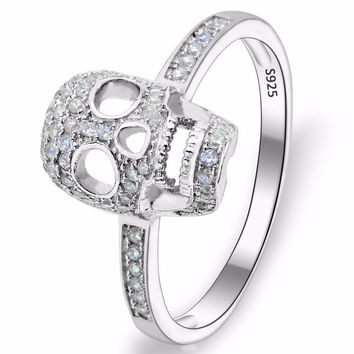 BELLA Fashion 925 Sterling Silver Skull Bone Skeleton Ring Cubic Zircon Ring For Halloween Party Jewelry Size 6/7/8/9