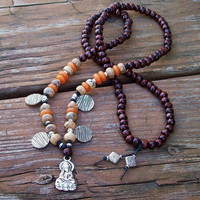 Buddha Pendant Long Necklace in Wood Beads and Gemstones - Picture Jasper and Red Aventurine