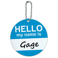 Gage Hello My Name Is Round ID Card Luggage Tag