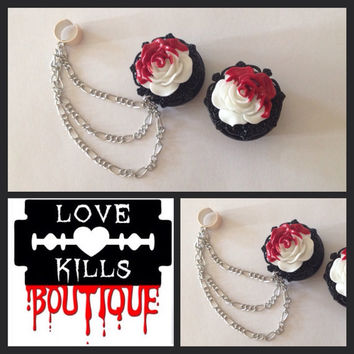 PICK SIZE Bloody Roses Ear Cuff Plugs Custom Plug