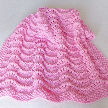 Pink Lacy Baby Blanket, Hand Knit Gift for Girl Baby Shower Gift, Chunky Knit Warm Toddler Afghan, Stroller Blanket, Nursery Crib Decor