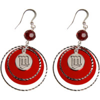 LogoArt Minnesota Twins Women's Mirrored Game Day Earrings - Silvertone/Red - http://www.shareasale.com/m-pr.cfm?merchantID=7124&userID=1042934&productID=525382870 / Minnesota Twins