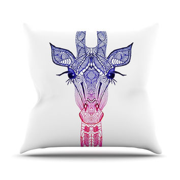 "Monika Strigel ""Rainbow Giraffe"" Throw Pillow"
