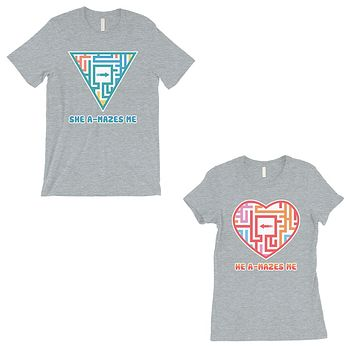 A-Mazes Me Grey Matching T-Shirts Couples Anniversary Gift For Him