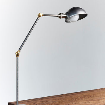 Clamp on steel and brass articulating desk lamp, work light