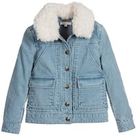 Chloe Girls Blue Corduroy Shearling Fur Jacket (Mini-Me)