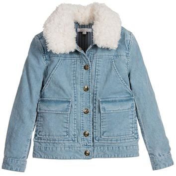 Girls Blue Corduroy Shearling Fur Jacket (Mini-Me)