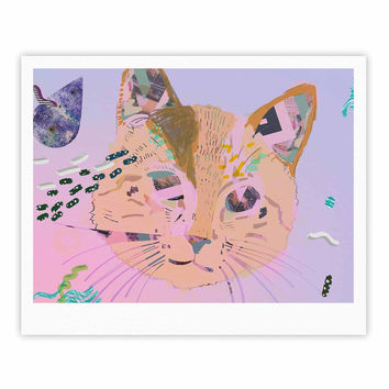 "Vasare Nar ""Psychedelic Cat"" Pastel Lavender Fine Art Gallery Print"