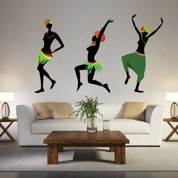 cik1384 Full Color Wall decal Africa African woman dancing hall bedroom