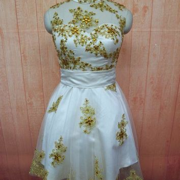 High Collar Short Mini Cocktail Party Dress Gold Appliques Crystal Beading Homecoming Gowns Wedding Party Dresses Club Dress
