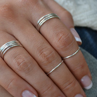 SKELETON STACKS /// Dainty Stacking Rings /// Silver