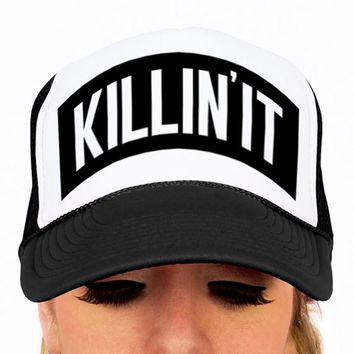 Killin' It, Hat, Black and White Trucker Hat, snap back cap, funny novelty hat, crushin it, unisex cap, baseball hat, adjustable hat