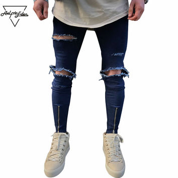 Spring New Hole Jeans Men Street wear Casual Ripped Skinny Jeans Blue Zipper Jeans Home Wild Trousers