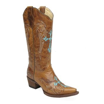 Corral Women's Wing and Cross Embroidery Western Snip Toe Boots
