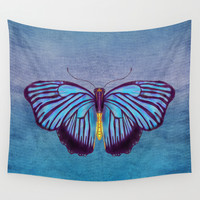 Butterflies and Burlap Wall Tapestry by Catherine Holcombe | Society6