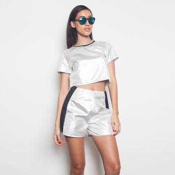 Metallic Silver Crop Top