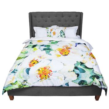 "83 Oranges ""Watercolor Flowers"" Orange Green Painting Comforter"