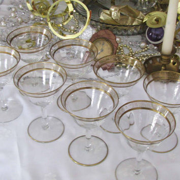 Gold Rim Elegant Cordial/Sherbert Vintage Optic Pattern Stemware, Set 8, Perfect  Wedding Gift