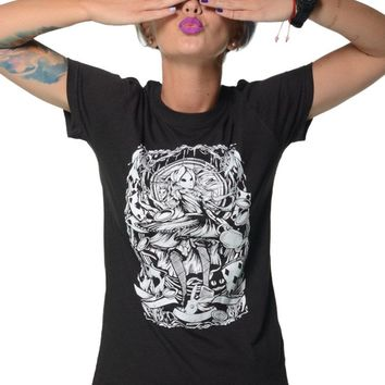 "Women's ""Alice in Wonderland"" Tee by Dirty Shirty (Black)"